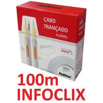 Cabo Coaxial Bipolar 4mm 100m 80% Cftv Flexível Br Multitoc