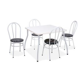 Mesa Com 4 Cadeiras Fil, Branca E Café Floral