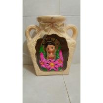 Lampara Virgencita Jarron Ceramica Grande