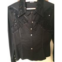 Hermosa Camisa Negra Con Trasparencias Y Lentejuelas