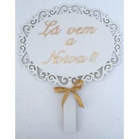 Plaquinha Casamento Mdf Branco E Decorado Kit Com 3 Unidades