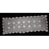 Carpeta Tejida Al Crochet Color Natural Rectangular Cód 118