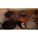 Lote De Sombreros Antiguos De Caballero Y Dama