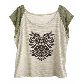 Blusa Camiseta Feminina Plus Size Manga Renda Estampas