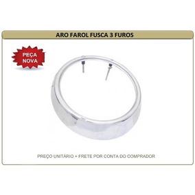 Moldura Aro De Farol Fusca/kombi 73/75 Ferro Cromado 3 Furos