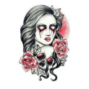 Tatuagem Temporária 3d Grande Caveira Mulher Rosas Crânio