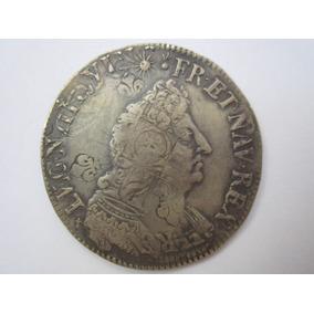 França Moeda Prata 1/2 Ecu 1695 Luiz Xiv