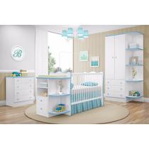 Jogo Quarto Infantil Doce Sonho 3 Peças Branco Azul