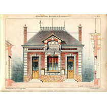 Lienzo Tela Plano Mansión Casa Francia 1830 70 X 50 Cm