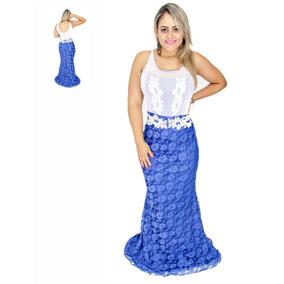 Vestido Renda Decote Aplique Guipir Costas Casamento Festa