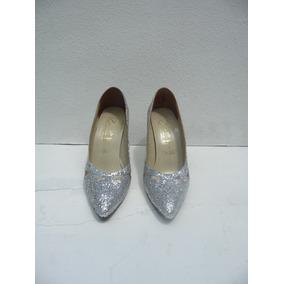Zapatos Plateados Escarchados. De Fiesta: #37-tacón 10