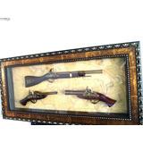 Hermoso Cuadro Exhibición De Armas Antiguas Decorativa 97x47