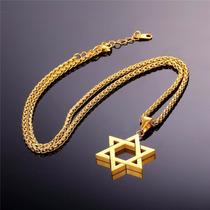 Estrela De Davi Salomão Banhado A Ouro Aço Pingente Colar