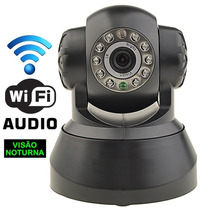 Câmera Ip Preta Sem Fio Grava Video Audio Em Microsd Android