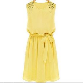 Vestido Amarelo Solto Com Cinto Chiffon Pérolas Novo!