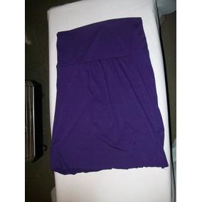 Pollera Corta Color Violeta En Modal Talle M