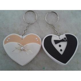 50 Chaveiro Coração Noivo E Noiva De Eva