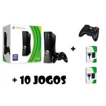 Xbox360 De Slim 4gb Original +2 Baterias+jogos+2controle
