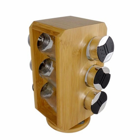 Jogo 6 Porta Condimento Tempero Base Bambu Giratória