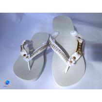 Havaianas Original Customizadas Bordadas. Sandálias Strass