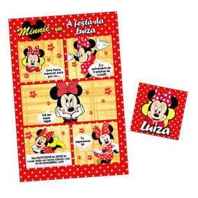 50 Convites Gibi Minnie Vermelha + 50 Selinhos Brinde