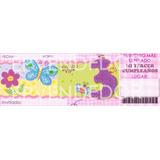 Tarjetas De Invitacion Tres Años Niña Mariposas Y Flores