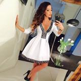Vestido Globo Blanco Cuello V Dress Ladies Evening Party