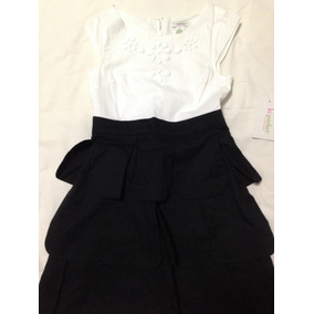 Vestido Preto Branco Menina 6/8 Anos Novo Importado Bordado