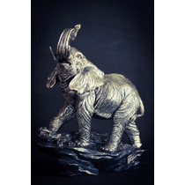 Escultura Elefante Grande Plata 999 Electroformado Figura