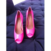 Sapato Feminino Arezzo Peep Toe Pink Salto Alto Número 38