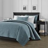 Colcha Cobertor Chezmoi Colección Austin 3-piezas Azul