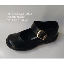 Zapato Calzado Colegial Niña Mafalda Cuero Negro Cocido