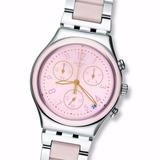 Reloj Swatch Ycs588g Dreamnight Rose Crono Calend Wr 30mts