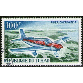 Chad Sello Aéreo Usado 100 Fr. Avión Piper Cherokee 6 = 1967