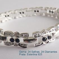 Pulseira De Prata 925 Com Safira E Diamante Naturais 7030.