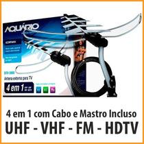 Kit Antena Aquário Dtv3000 Vhf Uhf Hdtv Digital Frete Grátis