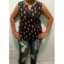 Camisa Blusa Feminina Social Sem Manga Tecido Leve + Brinde