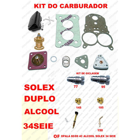 Kit Carburador Opala 4c 80/89 Solex Duplo 34seie Alcool