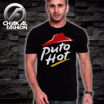 Playera Puto Hot Pizza Logo Brilla Fotoluminiscente