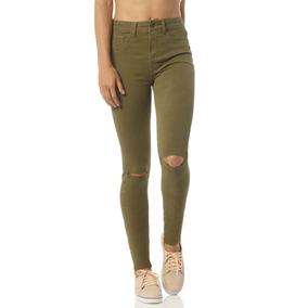 Calça Jeans Skinny Média Colorida Rasgos Denim Zero - Dz2392