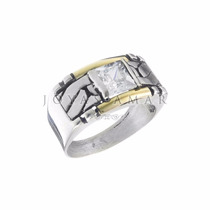 Anillo Plata 925 Rectangular Cubic Paris Borde Oro 18k