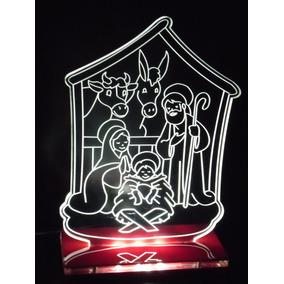Luminária / Abajur Presépio De Natal Em Acrílico Com Led