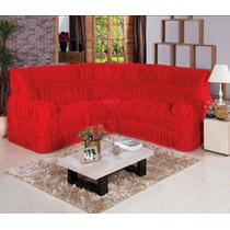 Capa Para Sofá De Canto Toda Elásticada Vermelha