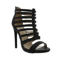 Sandalias Elegantes De Vestir Tacon Alto Negro