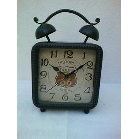 Relógio Mesa Mostrador Route 66 Caixa Em Metal Envelhecido