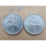 Moneda Chilena De 5 Escudos Años 1971 - 1972