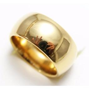 Aliança Tungstênio 10mm Folheada Ouro