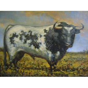Pintura Taurina Antigua Toro Berrendo Pintor Reynaldo Torres