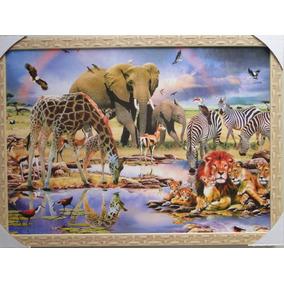 Quadro Zoologico 73 X 53 Cm Elefante Zebra Girafa Leão