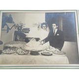 Foto Antiga Festa De Casamento - Casal Com Bolo